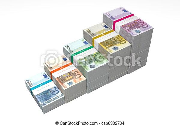 Euro Banknotes Ramp 20 - 500 - Higher Steps - csp6302704