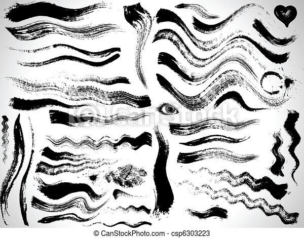 vector ink brush strokes set - csp6303223