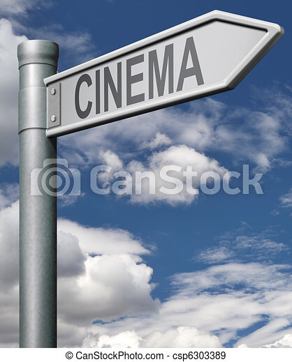 cinema road sign - csp6303389
