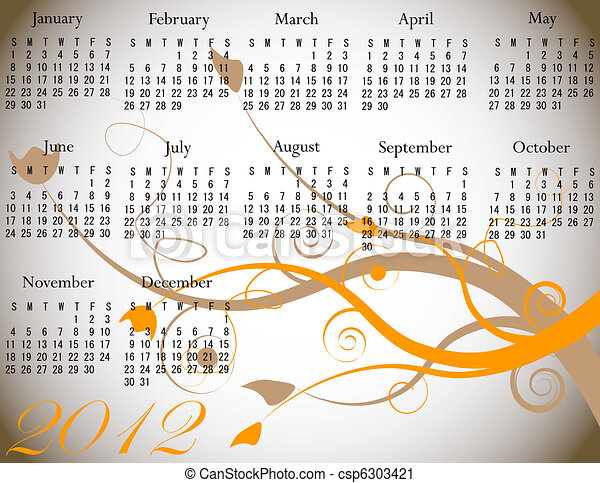 2012 Floral Calendar in Fall Colors - csp6303421