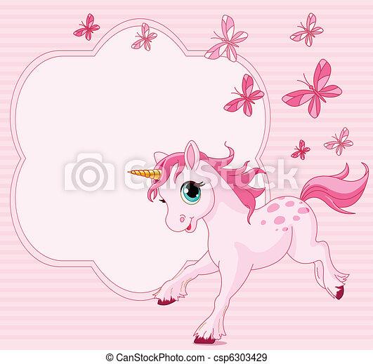 Baby unicorn place card - csp6303429