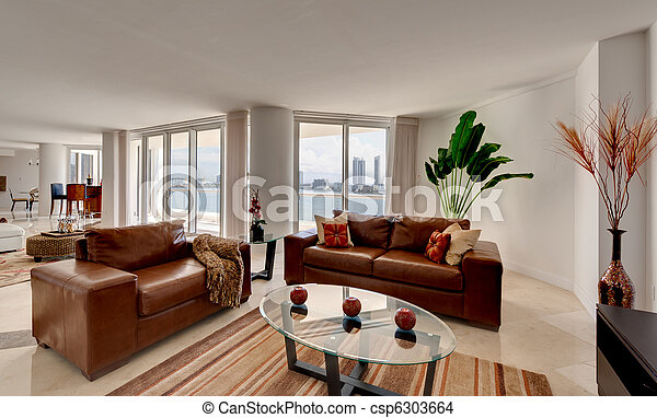 Leather Sofa in Modern Apartment - csp6303664