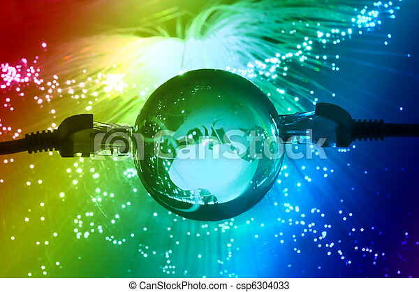 world map technology style against fiber optic background - csp6304033