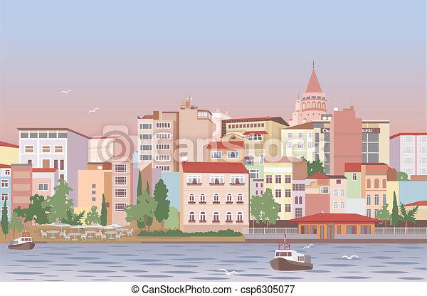 Town in morning - csp6305077