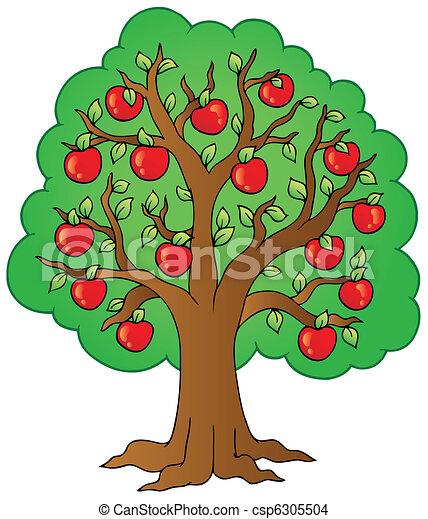 Eps vector de rbol caricatura manzana caricatura for Un arbol con todas sus partes