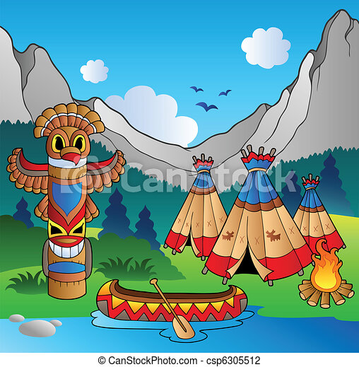 Indian village with totem and canoe - csp6305512