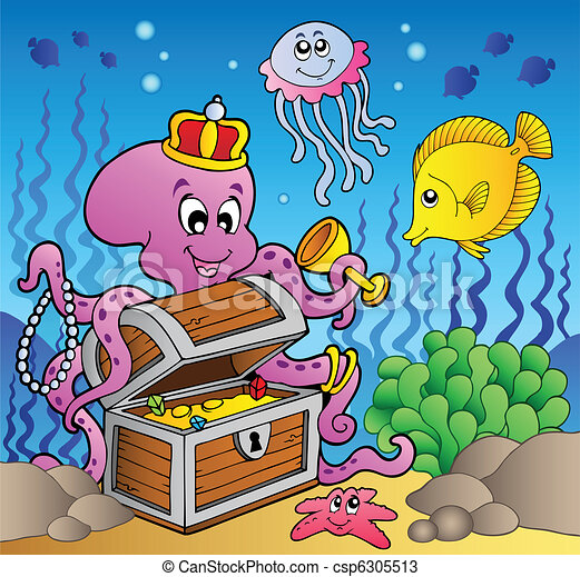 Cartoon octopus on treasure chest - csp6305513