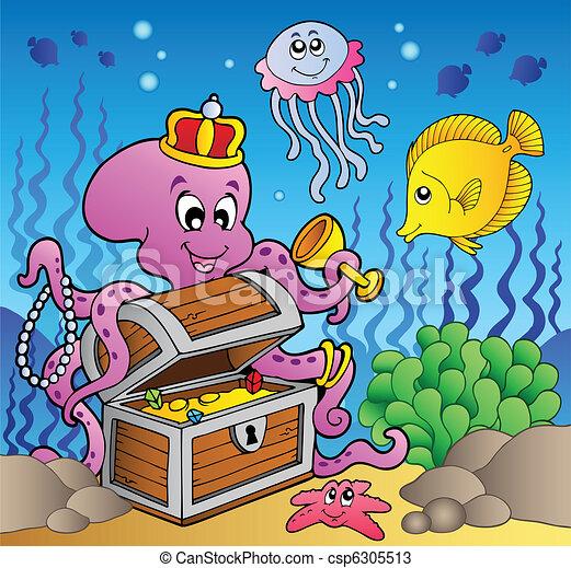 Cartoon octopus on treasure chest - csp6305513
