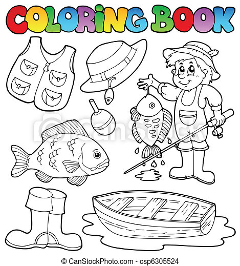 Coloring book with fishing gear - csp6305524
