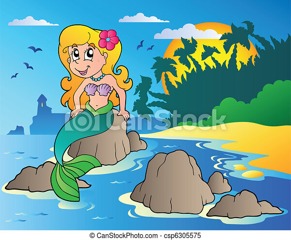 Seascape with cartoon mermaid - csp6305575
