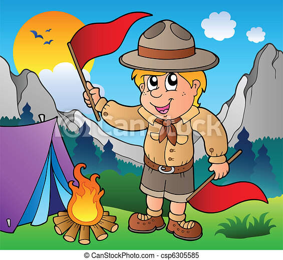 Scout boy with flags outdoor - csp6305585