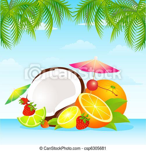 Seasonal varied tropical fruit  - csp6305681