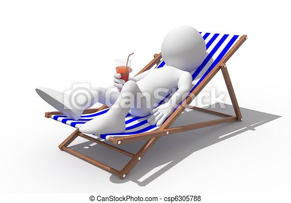Tourist lying on a deck chair - csp6305788