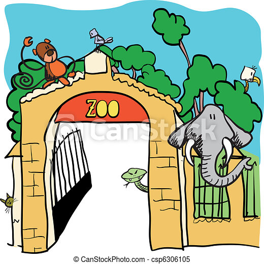 Clipart vectorial de zoo, -, vector, caricatura, Ilustración ...