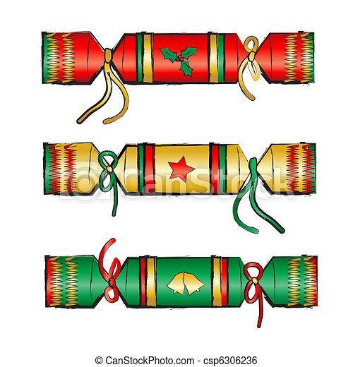 Clip Art Vector of Christmas crackers isolated on white. Sketch ...