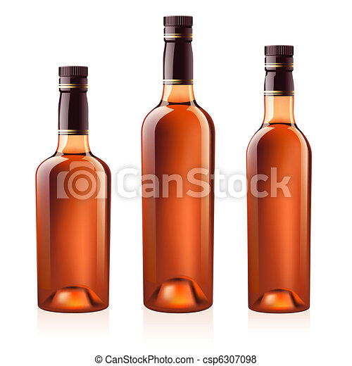 Bottles of cognac (brandy). Vector illustration. - csp6307098