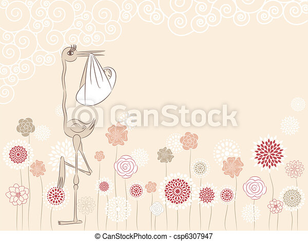 Stork with baby - csp6307947
