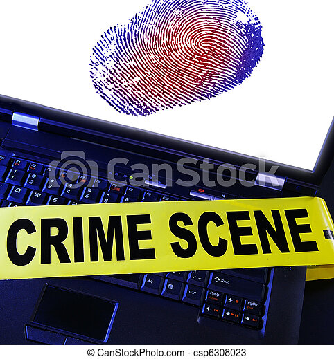 laptop fingerprint with yellow crime scene tape across it - csp6308023