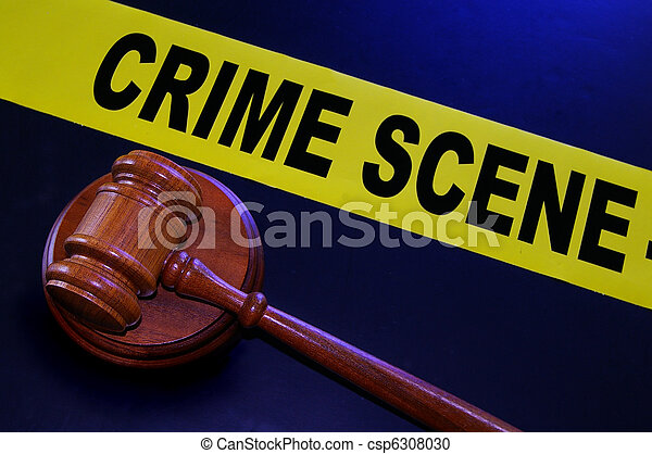 crime scene tape and legal gavel - csp6308030