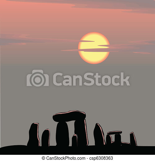Stonehenge at dusk - csp6308363