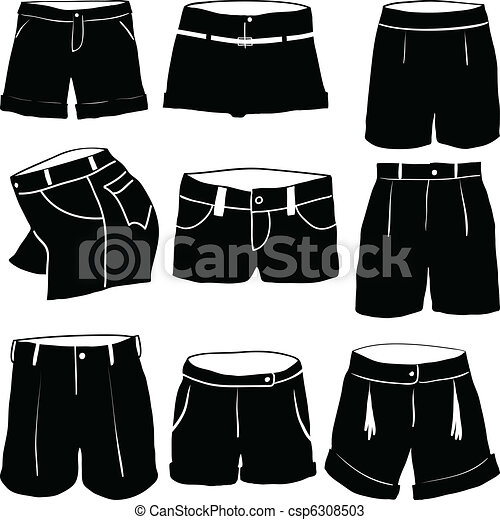 vectors of various womens shorts csp6308503 search clip art illustration drawings and. Black Bedroom Furniture Sets. Home Design Ideas
