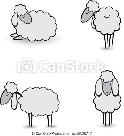 Three abstract gray sheep - csp6308717