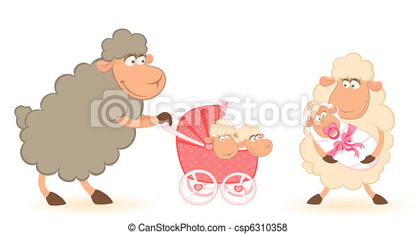 sheep mother with infant baby  - csp6310358