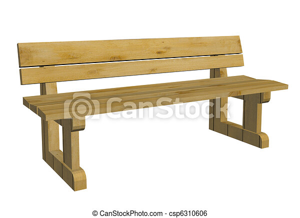 of Wooden park bench, 3d illustration - Wooden park or outdoor ...