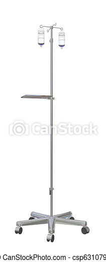 Adjustable mobile medical  iv pole with intravenous fluid bottles, 3d illustration, isolated against a white background - csp6310794