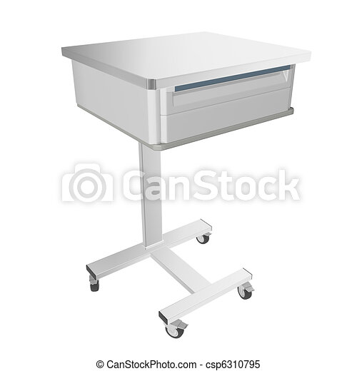 Mobile stainless metal medical over bed table with drawer, 3d illustration, isolated against a white background - csp6310795