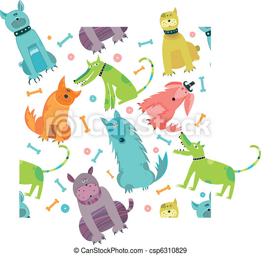 Seamless Funny vector dogs.  - csp6310829