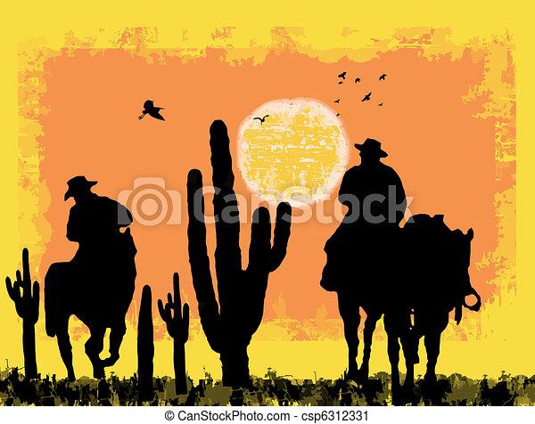 Cowboys on desert - csp6312331