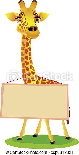 Giraffe cartoon and blank sign - csp6312821