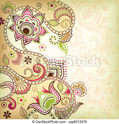 Asia Floral Background - csp6313476