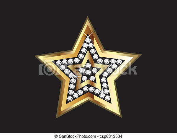 Gold Star with Diamonds  - csp6313534