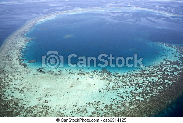 Aerial view of coral reefs. - csp6314125