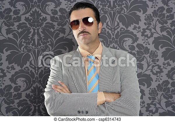 nerd serious proud businessman sunglasses portrait - csp6314743