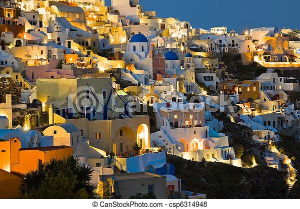 Santorini night (Oia) - Greece - csp6314948