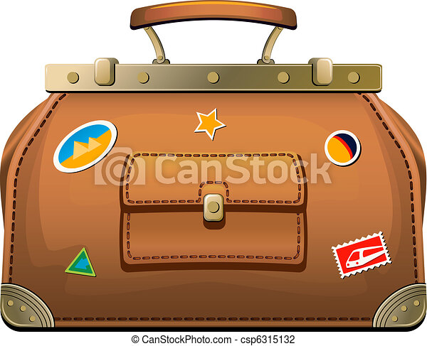 Old-fashioned travel bag (valise) - csp6315132