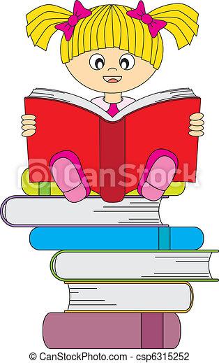 girl reading a book - csp6315252
