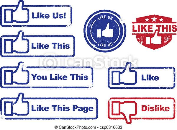 Social Media Like Stamps - csp6316633
