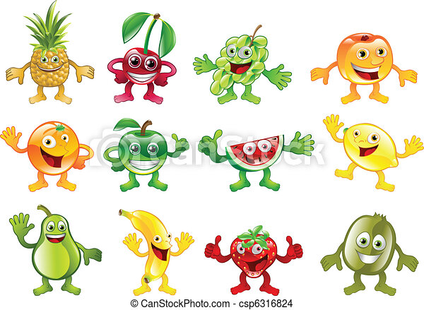 Set of colourful fruit character mascots - csp6316824