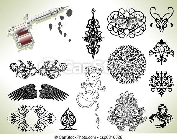 Tattoo flash design elements - csp6316826