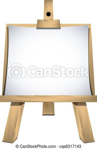 Easel with a blank paper - csp6317143