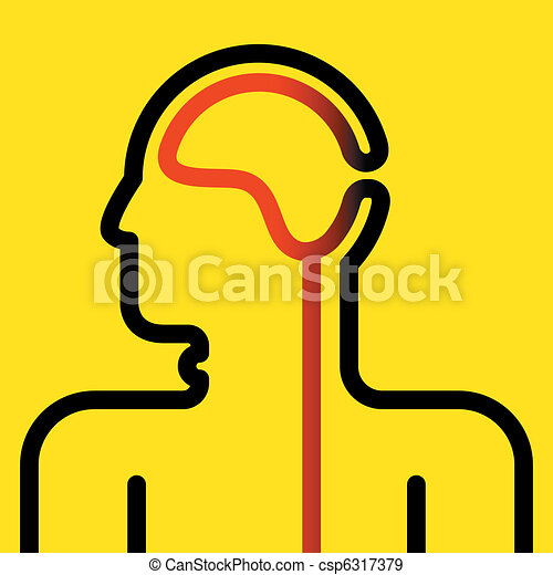 pictogram of brain and spinal cord - csp6317379