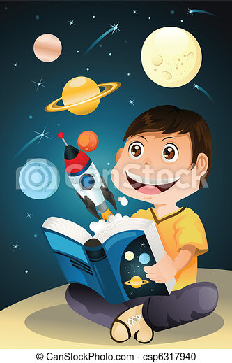 Boy reading astronomy book - csp6317940