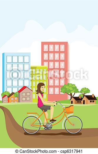 Woman riding a bike - csp6317941