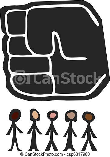 Big Fist Over People - csp6317980