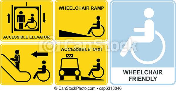 clip art vecteur de fauteuil roulant signe accessible