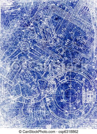 parchment sheet with blueprint - csp6318862
